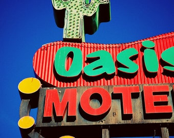 Oasis Motel Vintage Los Angeles Neon Sign - Vintage Neon Sign Art - Retro Home Decor - Road Trip Inspired - Fine Art Photography