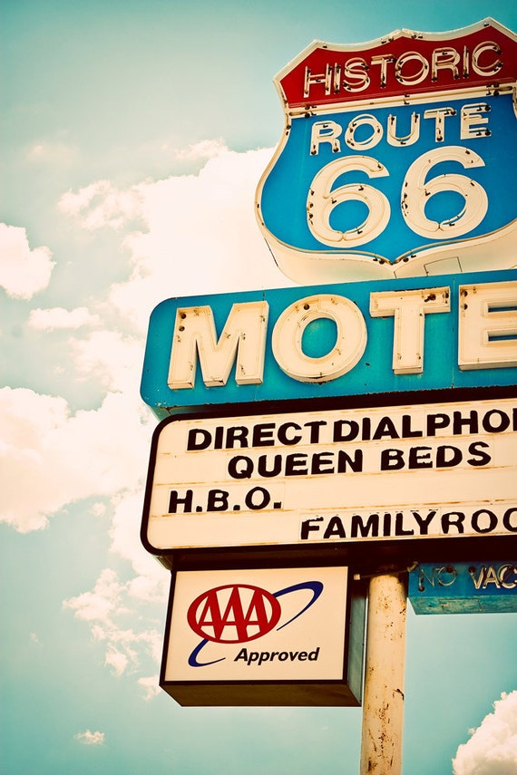 50% OFF SALE - Vintage Route 66 Motel Neon Sign - Seligman Arizona - Graphic Home Decor - Pastel Teal Wall Art - 8X12 Fine Art Photograph