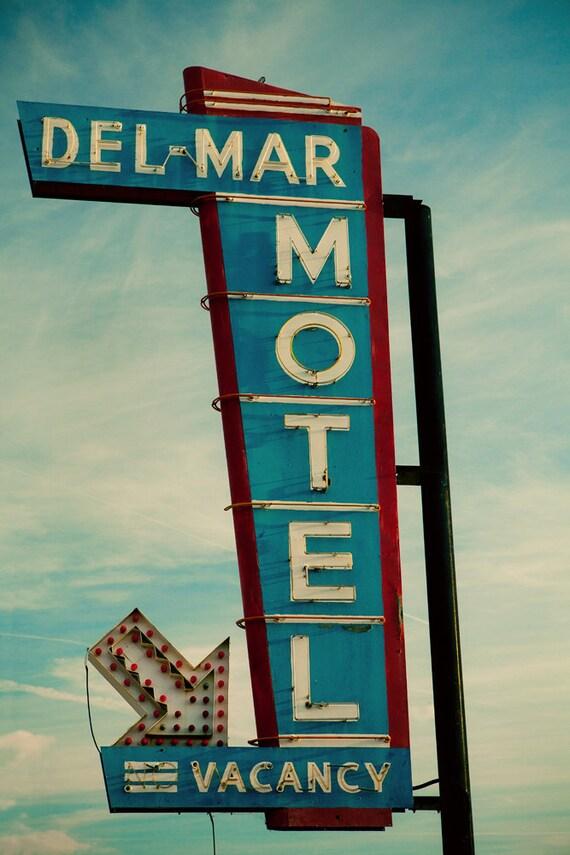 Del Mar Motel Neon Sign - Mid Century Modern Decor - Graphic Wall Art - Retro Home Decor - Art Deco Decor - Fine Art Photography