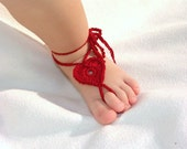 2 pairs Baby Heart Barefoot sandals, Foot decoration, Baby Foot accessories, Baby Photo prop, Red, Pink  Barefoot Sandals.