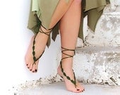 Crochet  barefoot sandals, green, nude shoes, wedding, Fashion Accessories, Yoga, Toe thong Bottomless shoes, beach pool, Sexy gipsy feet