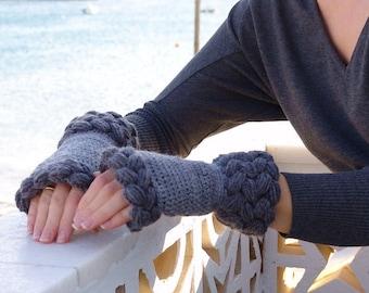 Fingerless Gloves,  Fngerless Glove Mittens, Knit Crochet Gloves, Gray Wool Fingerless Gloves, Crochet Mittens, Arm Warmers, Wrist Warmers.