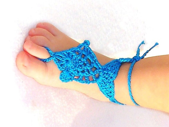 Baby Fish Barefoot sandals, Baby Photo prop, Beach Pool Anklet, crochet barefoot sandles, Foot decoration, leg accessories, Turquoise