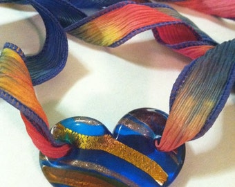 Necklace/Headdress/Choker-Ombre Rainbow Bright Large Glass Heart