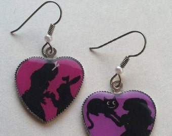 Alice In Wonderland Mismatched Heart Earrings