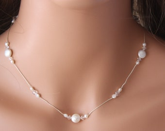 PEARL WEDDING NECKLACE on Silk Cord with Swarovski Crystals and Coin Shaped Pearls, Unique perfect for Bride or Bridesmaids, Simple Necklace