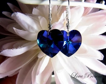 Eye catching Swarovski Crystal Dangle Earrings with Jumbo Sweet Heart - Color Heliotrope or Vitrail Light - Choose your Color