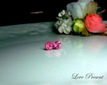Swarovski Crystal Petite Stud Earrings Post - Minimal Simple Jewelry - Color Rose Pink - Hypoallergenic or Metal post - Choose your post
