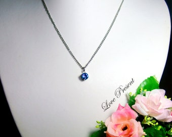 Christmas Solitaire Swarovski Crystal necklace - Modern minimalist jewelry for everyday - Choose your color