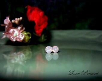 Swarovski Crystal Petite Stud Earrings Post - Minimal Jewelry - Color Rosewater Opal - Hypoallergenic or Metal post - Choose your post