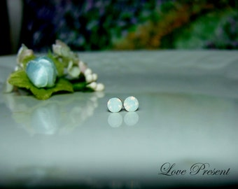 PIF - Swarovski Crystal Stud Tiny Teeny Little Mini Cartilage Earrings - Color White Opal - Hypoallergenic or Metal post - Choose your post