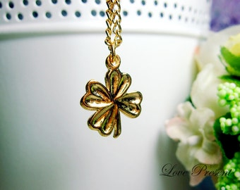 Holiday special Four Leaf Clover Lucky Necklace - Color Sliver and Gold - Choose your Color
