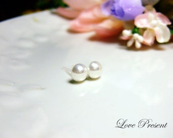 Bridesmaids and Flower Girl Gifts - Japanese Semi Pearl Cute Studs earrings