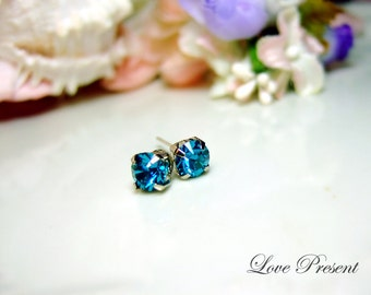 Swarovski Crystal Stud Typical 1 Carat Pierced Earrings - Bridesmaid Gift. Simple Modern Jewelry - Color Indicolite