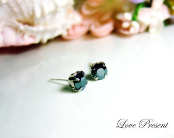 Classic Glamour Swarovski Crystal Cartilage earrings stud style Post  - Color Jet Hematite