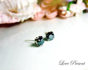 Classic Glamour Swarovski Crystal Earrings stud style Post  - Color Jet Hematite
