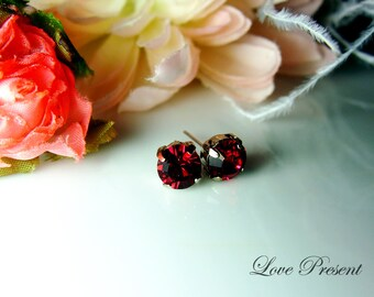Swarovski Crystal Stud Typical 1.25 Carat Pierced Earrings - Bridesmaid Gift. Simple Modern Jewelry - Color Ruby for July