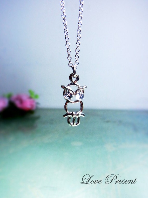 Super Cute Sweet Big eyes Owl Necklace - Made with Swarovski Crystal - Choose your color