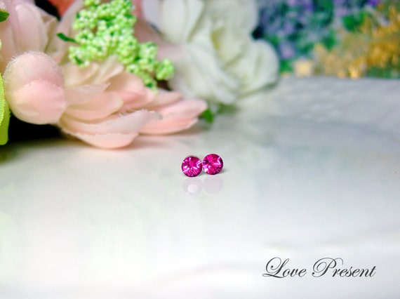 PIF - Swarovski Crystal Stud Tiny Teeny Little Mini Cartilage Earrings - Color Fuchsia - Hypoallergenic or Metal post - Choose your post
