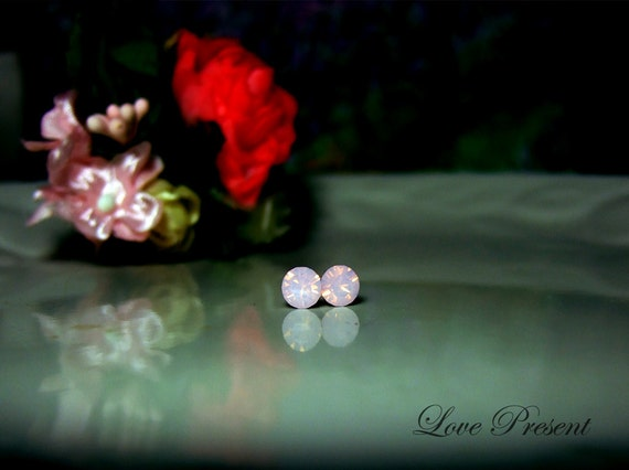 Swarovski Crystal Stud Tiny Teeny Little Mini Cartilage Earrings - Color Rosewater Pink Opal - Hypoallergenic or Metal - Choose your post