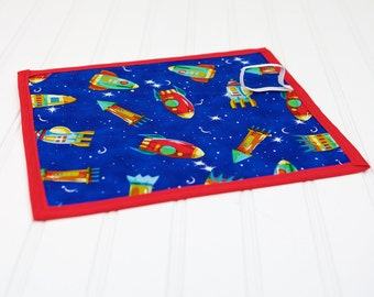 Toy for Boys Chalkboard Mat Rocket Ship Space Theme Blue and Red