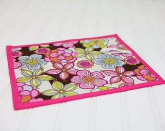 Chalkboard Mat Reusable Art Toy Tropical Flowers Girl Pink Green