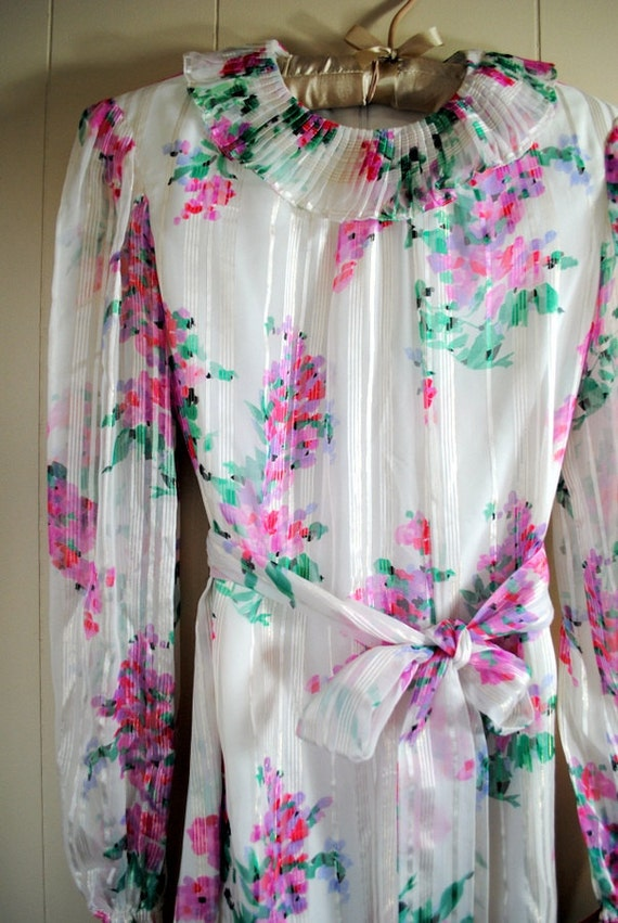 Floral Chiffon Dress with Pleated Collar