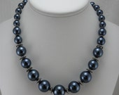 Navy Blue Big Pearl Necklace Women Teens Jewelry Mad Men Inspired 60's