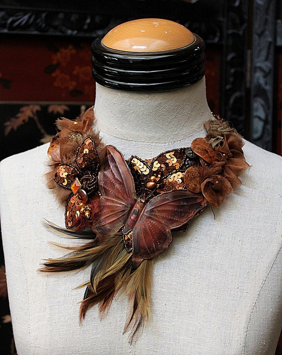 BLAZING AUTUMN Butterfly Statement Necklace Neckpiece