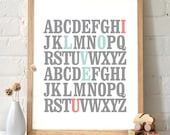 ABC Print - Typography Art - I love you -  Mint and Coral. Great for baby shower gifts and nursery decor. Valentine's gift - TA100