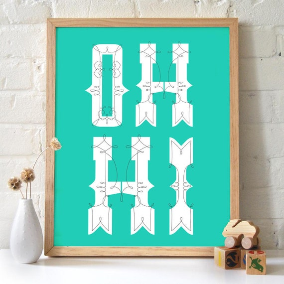Typography Print - Oh Hi Poster -  Funny Quote Inspirational Blue Aqua Seafoam background. Housewarming Poster Wall Art Welcome - TG102