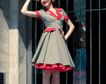Rockabilly Military Lady dress with hat