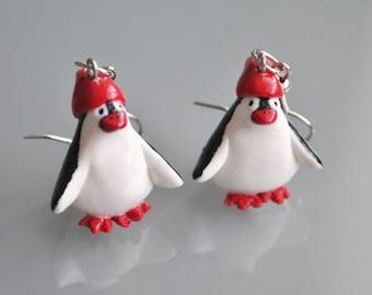 Penguin Earrings - Gifts for her - stocking stuffer