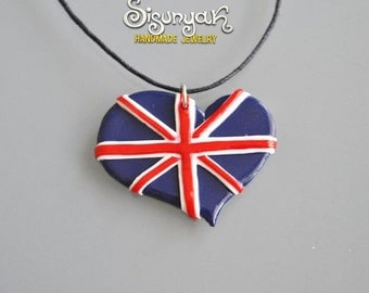 British flag heart Necklace I love UK
