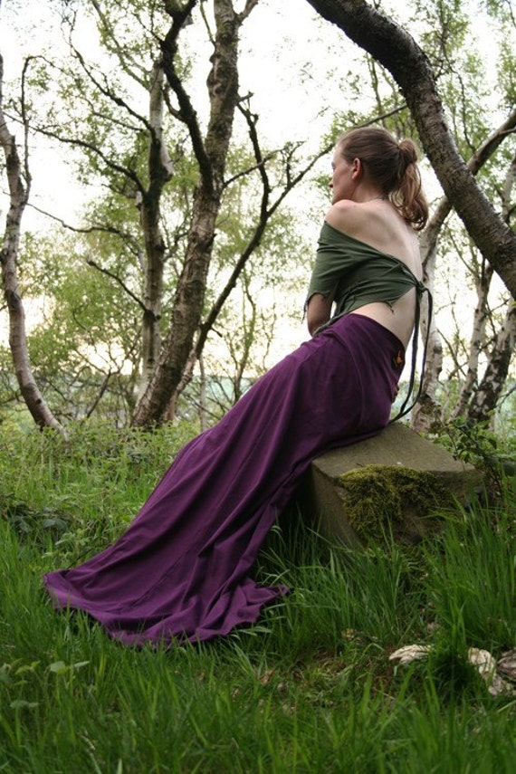 Elegant Elm Skirt - Floor Length Skirt - Cotton Jersey - Custom Made - Faery Wear - Gothic - Long Skirt