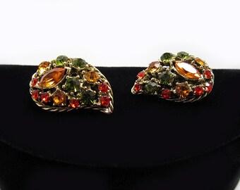 Dramatic Paisley Rhinestone Earrings