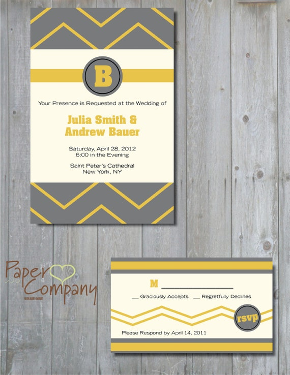 CHEVRON Wedding Save the Date/Invitation/Response Card/Reception Card/Menu/Table Numbers/Thank You Card - You Print
