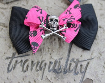 Love Potion XXX Glam Ghoul  Skull Hair Bow, Goth, Scene, Hipster, Punk, Rave,Emo, By: Tranquilityy