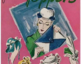 1940s Fascinating Toppers - hats, bags and embellishments c.1944 - Vintage Pattern booklet PDF