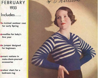Stitchcraft Magazine February 1933, Art Deco handcrafts - Vintage Knitting Pattern booklet PDF