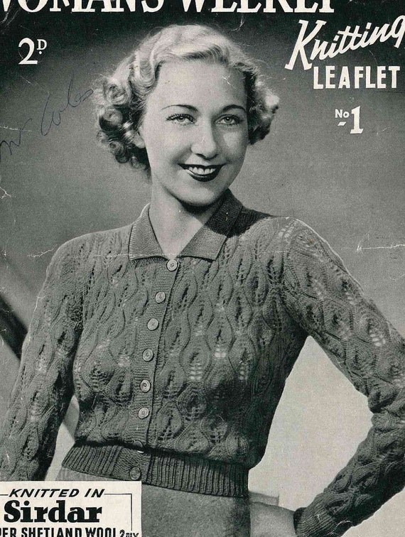 Early 1930s knitted lace cardigan Womans Weekly No.1