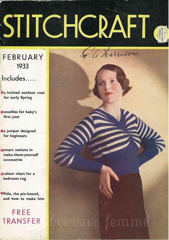 Stitchcraft Magazine February 1933, Art Deco handcrafts - Vintage Knitting Pattern booklet PDF