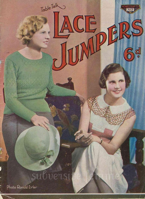 Early 1930s Summer lace jumpers and hats - Vintage Knitting and Crochet Pattern booklet PDF