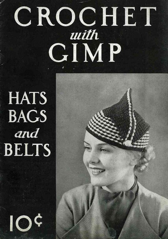 1930s Crochet Hats, Bags and Belts c. 1936 - vintage knitting crochet pattern booklet PDF