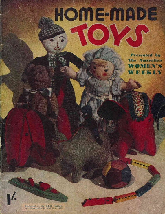 1940s Home-Made Toys, World War II era - Vintage Knitting Pattern Booklet (105)