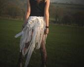 Fairy wraparound skirt, festival clothing, belly dancing skirt, tattered white swan costume, snowdrop fairy costume