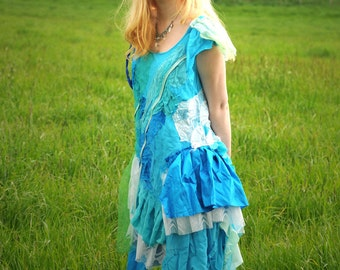 Tattered Mermaid costume, Fairy Dress, Turquoise Blue jade Fairy Ballerina mermaid dress Size L Large Oshun clothing