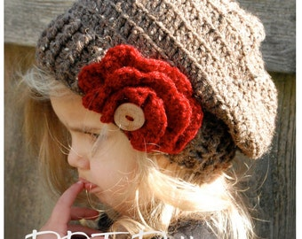 Crochet PATTERN-The Scarlett Slouchy (Toddler, Child, Adult sizes)