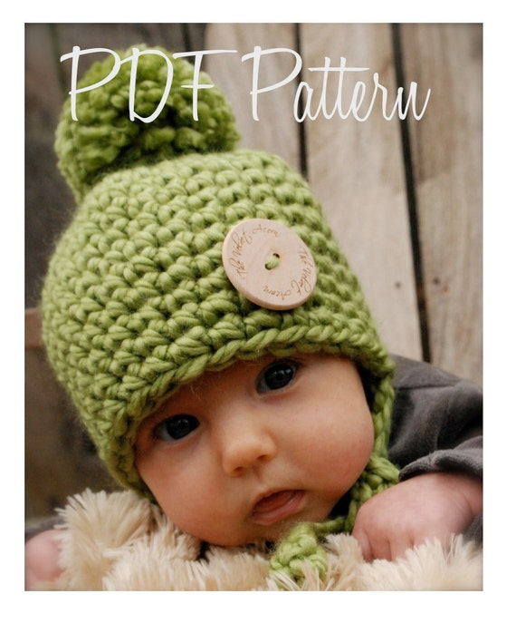 Crochet PATTERN-The Baby Railynn Hat (0/3-3/6-6/12 month sizes)