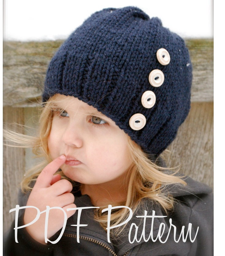 Knitting Pattern For Childrens Hats : Knitting PATTERN-The Hudson Hat Toddler Child Adult sizes